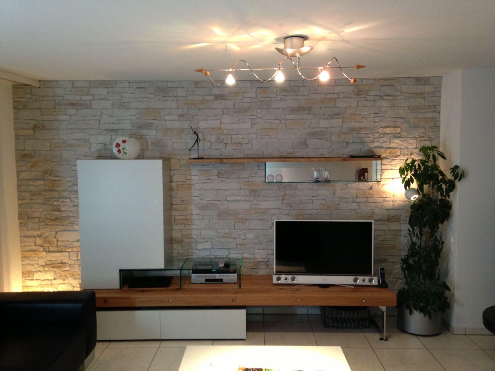 xstein tv steinwand fernsehwand steinimitat lcd plasma fernseher ... - Steinwand Design