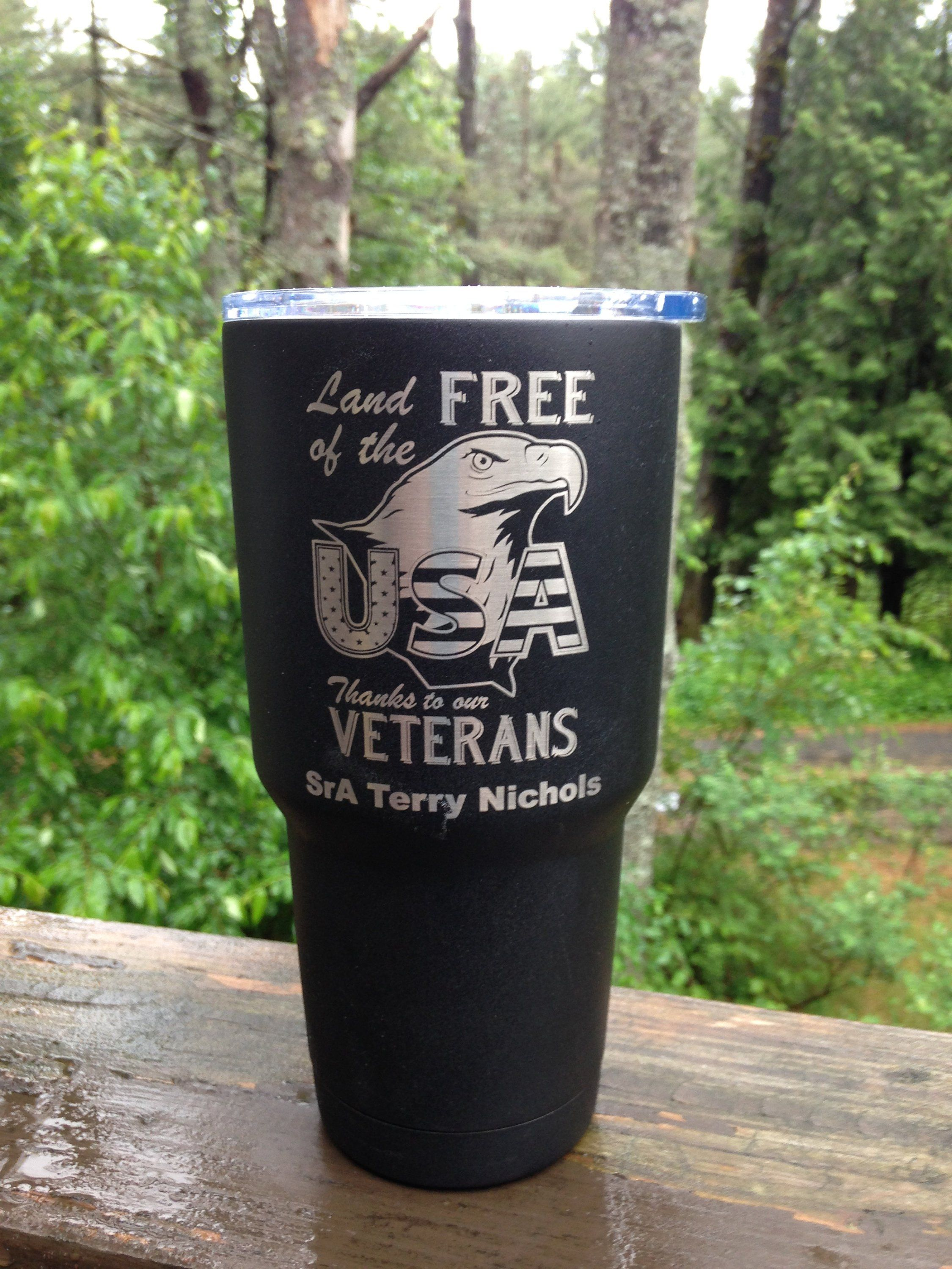 Land of the Free Military Cup, Personalized Patriotic Gift for Veterans, Engraved Gifts for Military by itspersonalengraving on Etsy