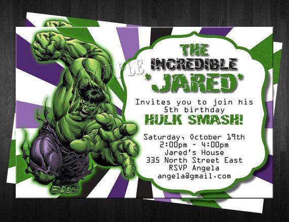 THE HULK Birthday Invitation Custom Digital File DIY PhThe Incredible Hulk Birthday Invite on Etsy, $10.00