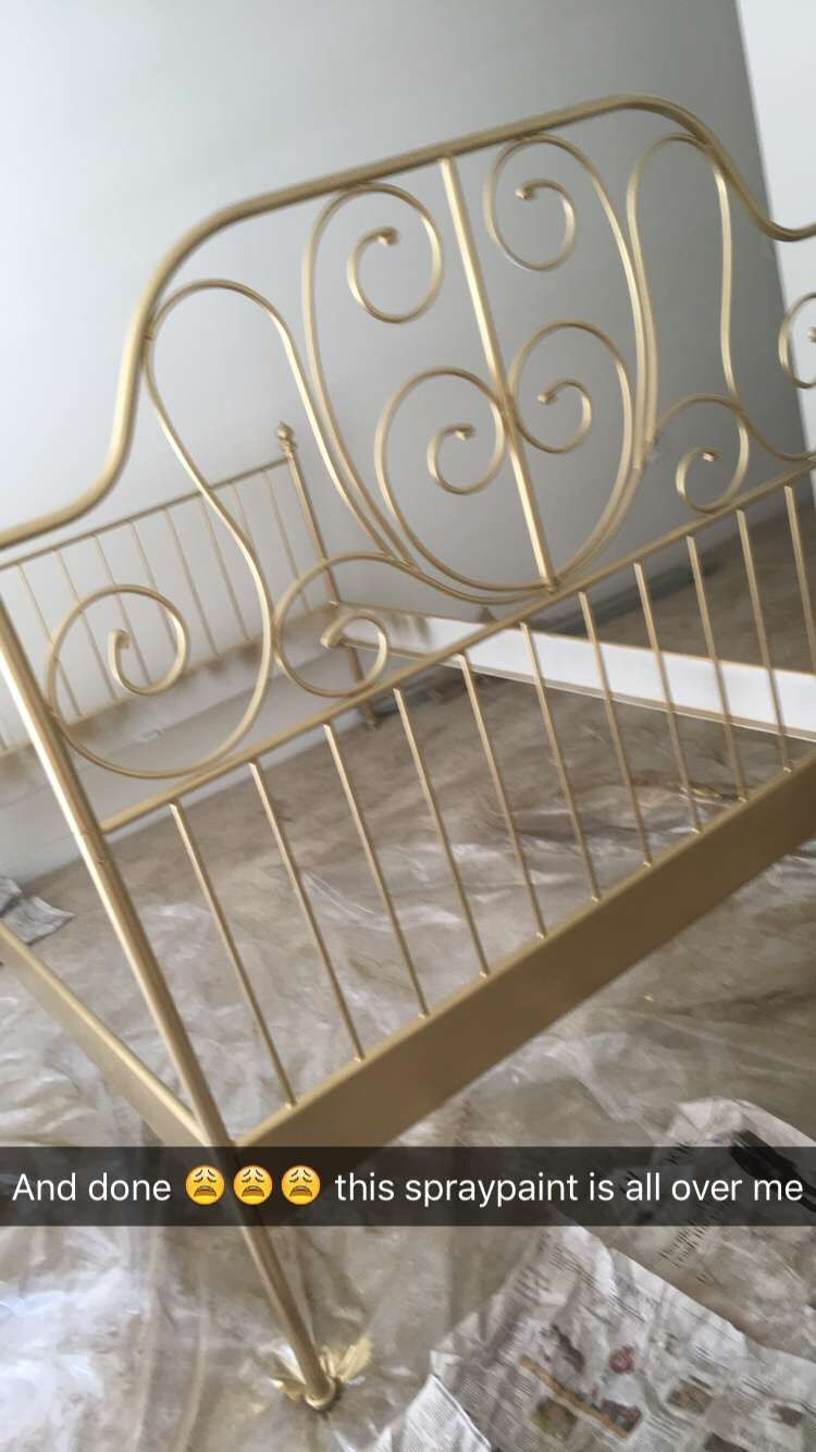 1192e9526f5c IKEA LEIRVIK bed spray painted gold! I love it!