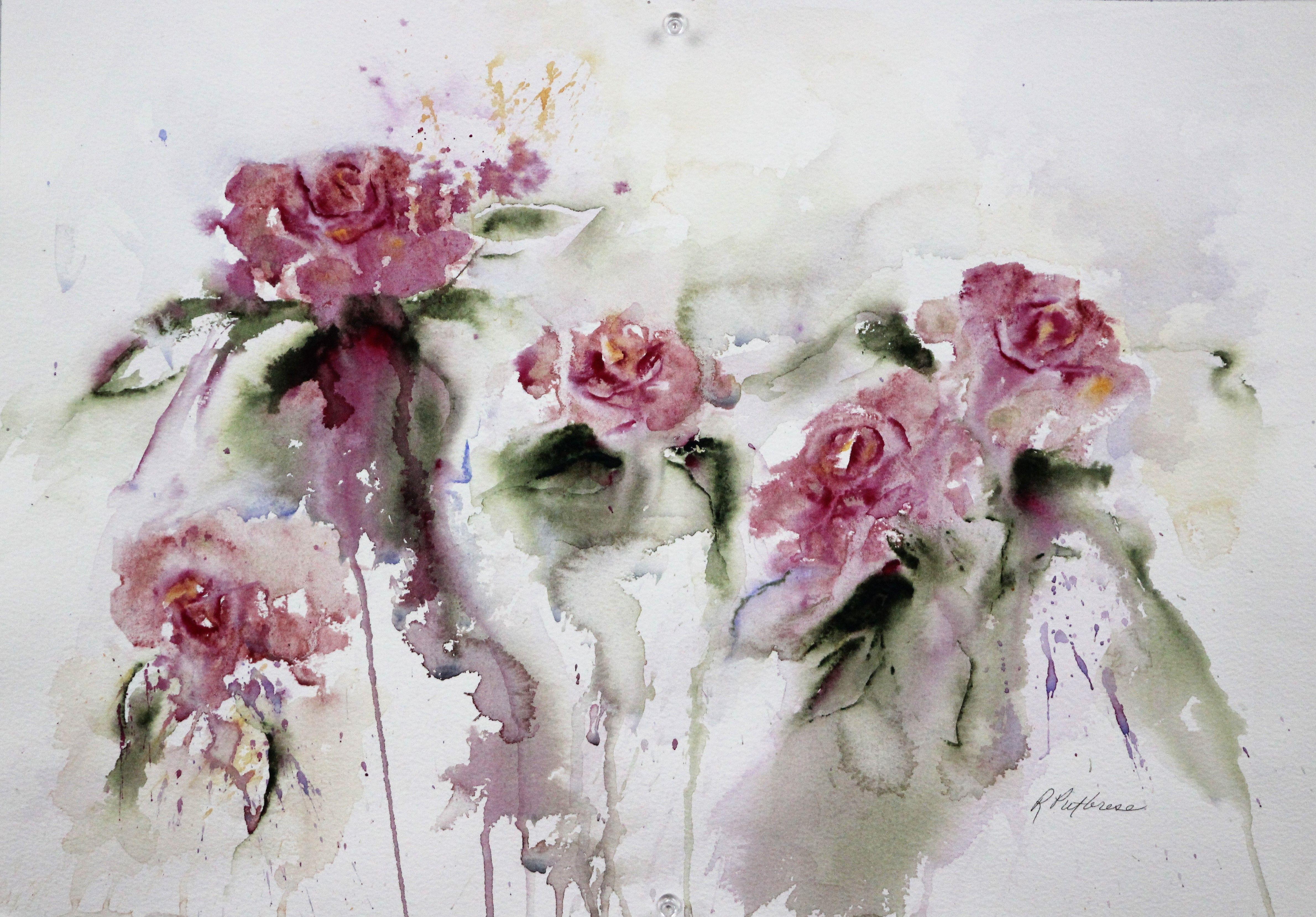 Watercolor Roses Watercolor Painting Watercolor Painting Pink
