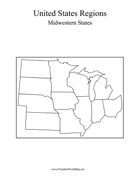 The Middle West States In This Printable US Map Include The - Map of midwest states