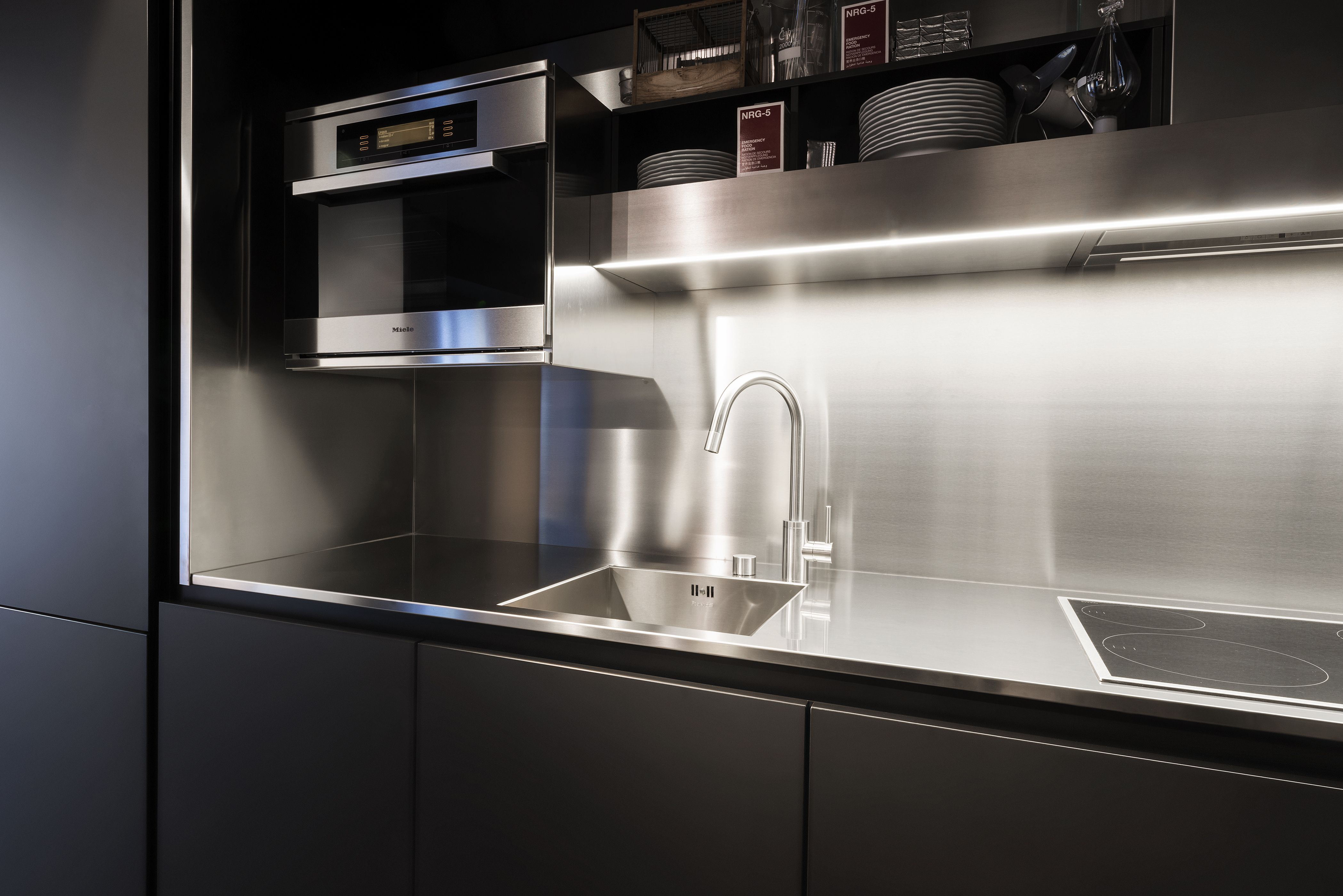 Use FENIX NTM Matte Vertical Surfaces With Stainless Steel Counter - Stainless kitchen design
