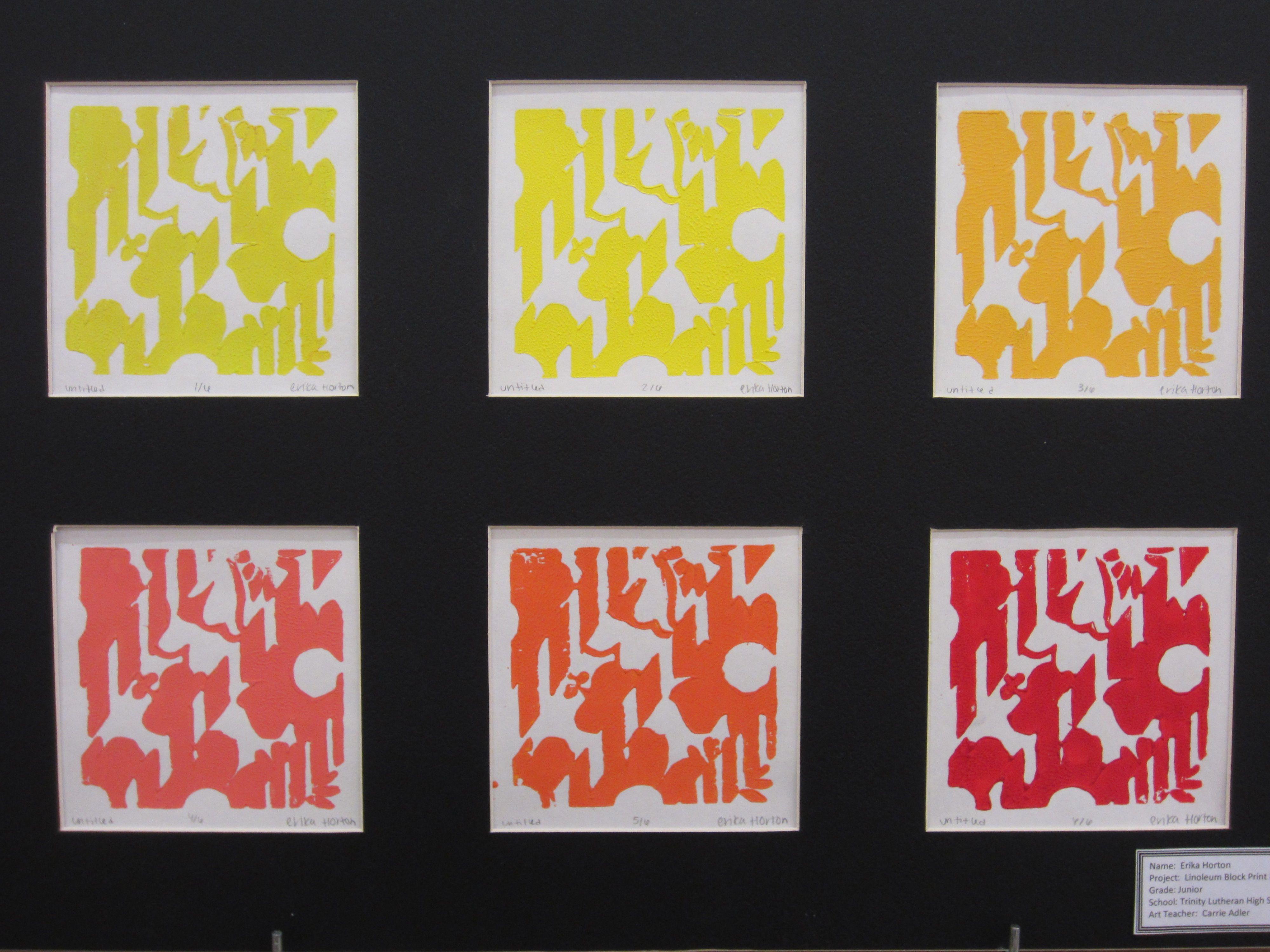Erika Horton - Printmaking - Linoleum Block Print Pattern - Junior - 2011-2012