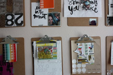 clipboards to organize papers/craft supplies