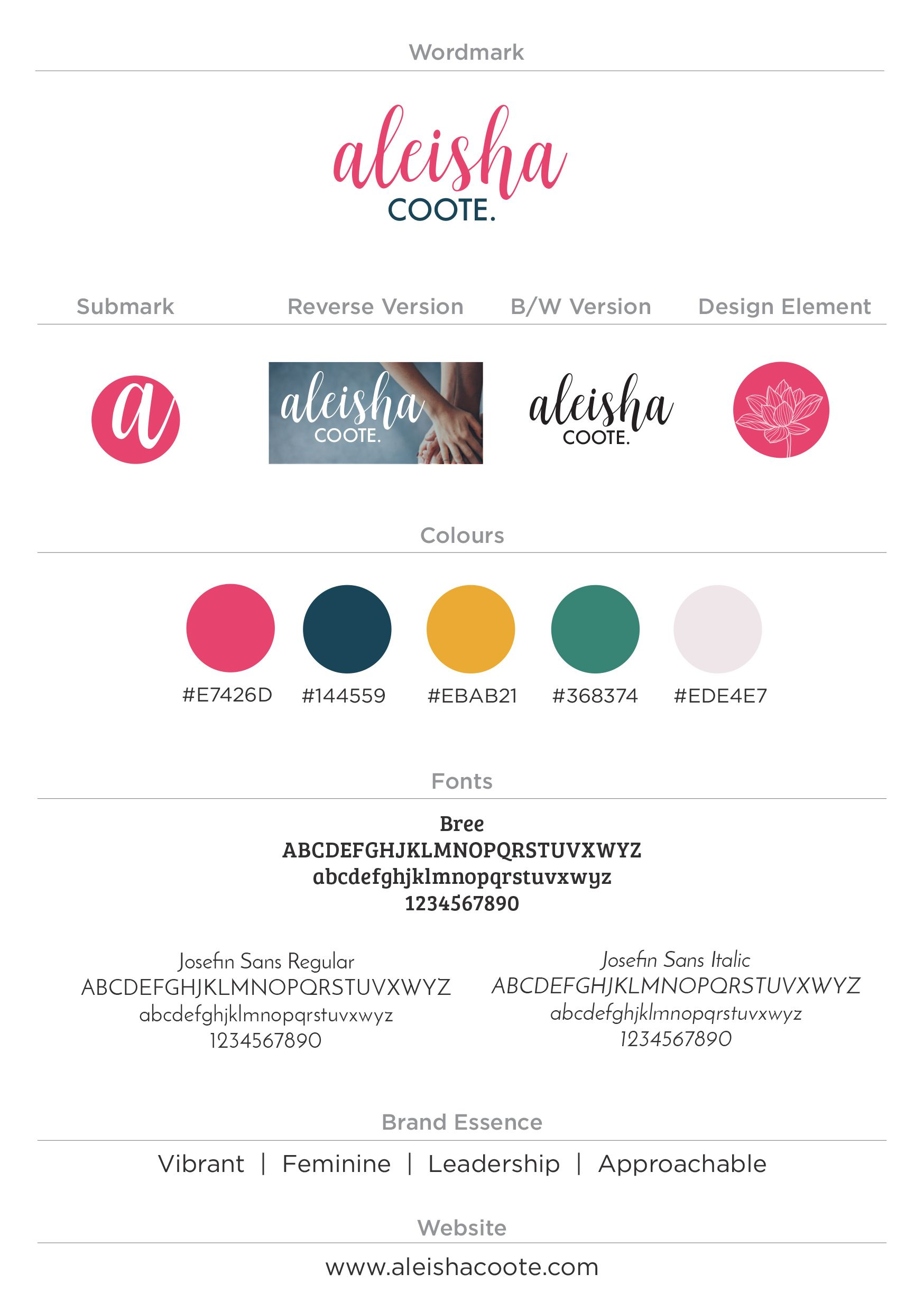 Personal Brand Style Guide For Aleisha Coote Personal Branding