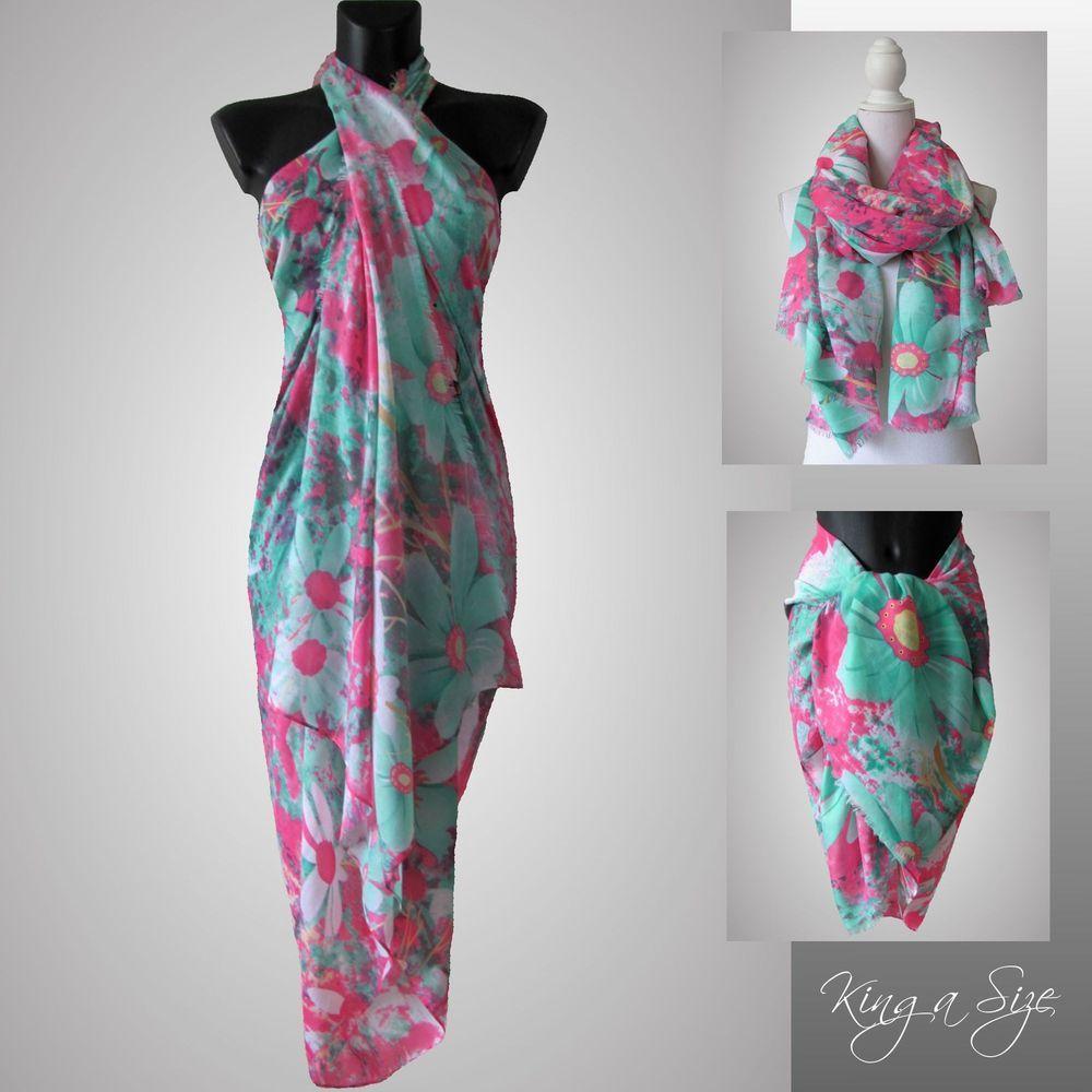 Schal XXL / Tuch Seidenschal Pareo Sarong Strandtuch Beach Dress ...
