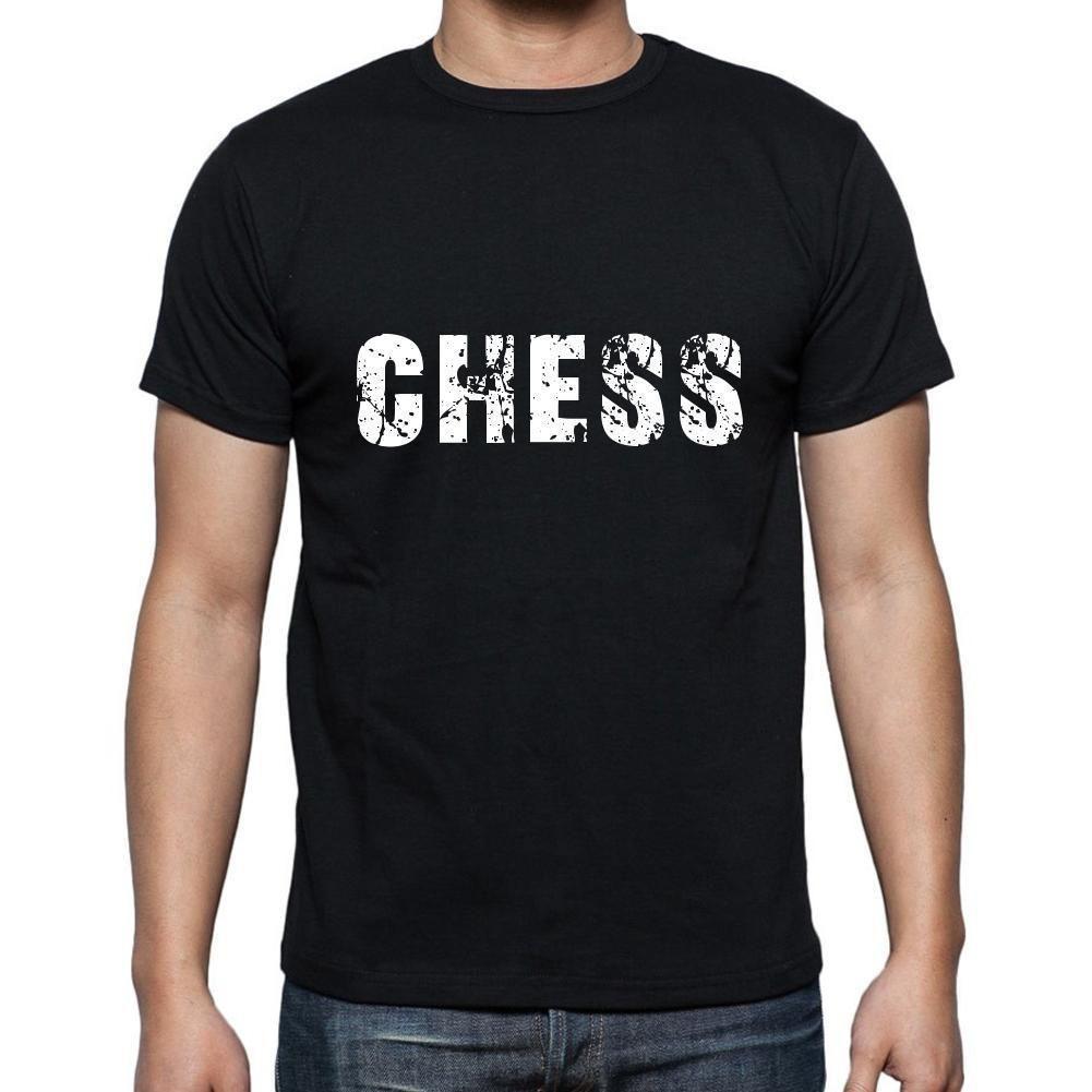 chess Men's Short Sleeve Rounded Neck T-shirt , 5 letters Black , word