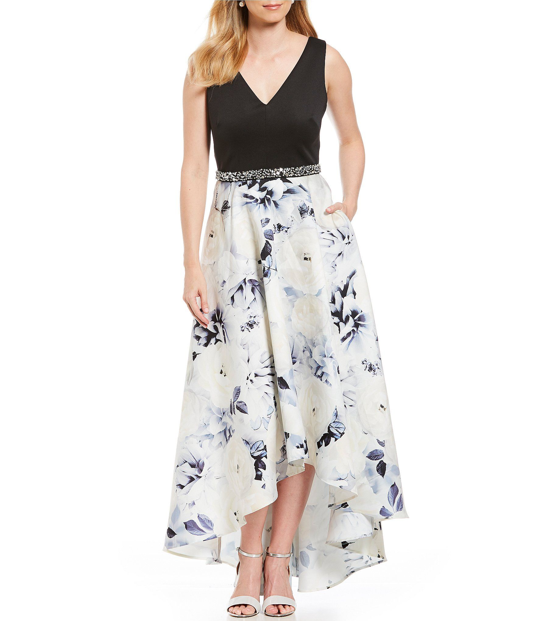 681ac5a636f Ignite Evenings HiLow Floral Printed Ballgown  Dillards
