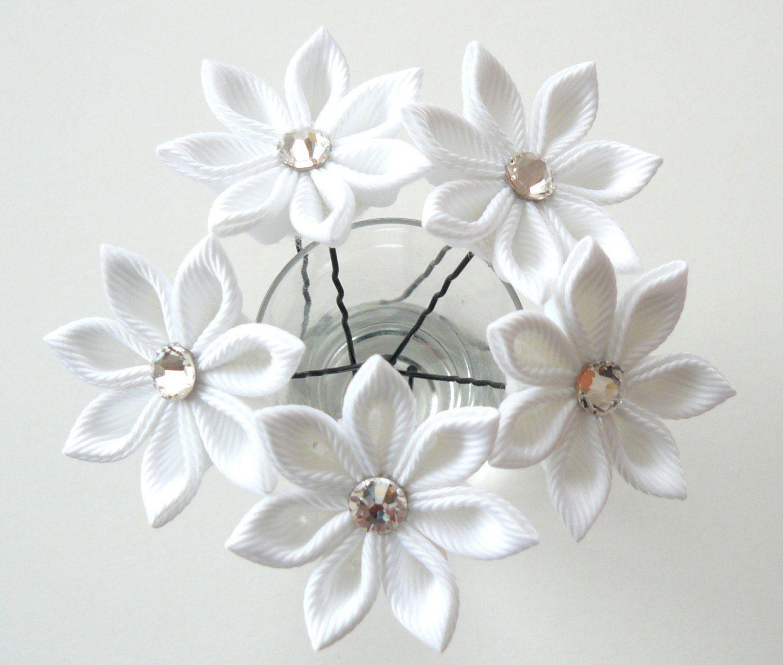 White Kanzashi Flower Hair Pins For Bride Wedding Hair Flowers