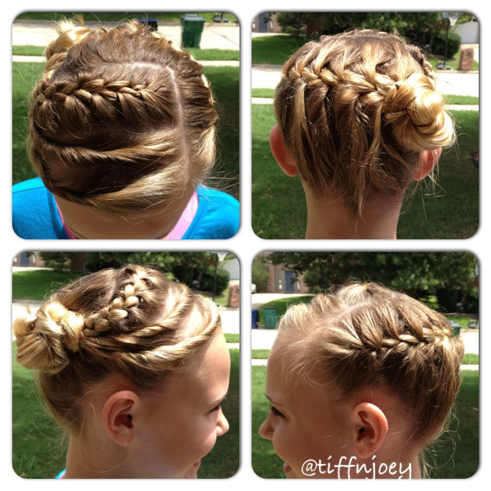 French braid from left to right on the back french braid on top