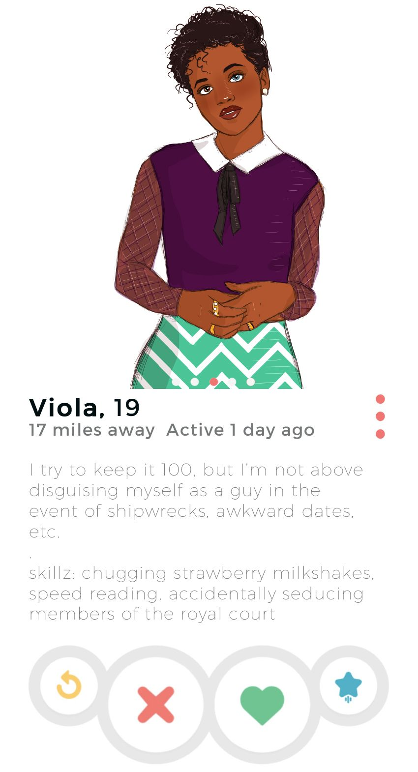 SparkLife » If Shakespeare Characters Had Tinder: Viola | Reading Is