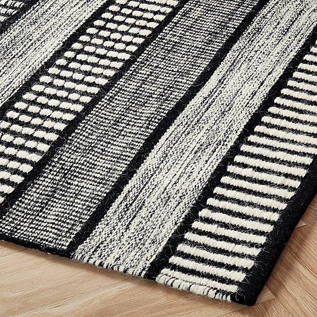 Sloane Handloom Back And White Striped Rug Cb2 Black And White Living Room Striped Rug White Rug