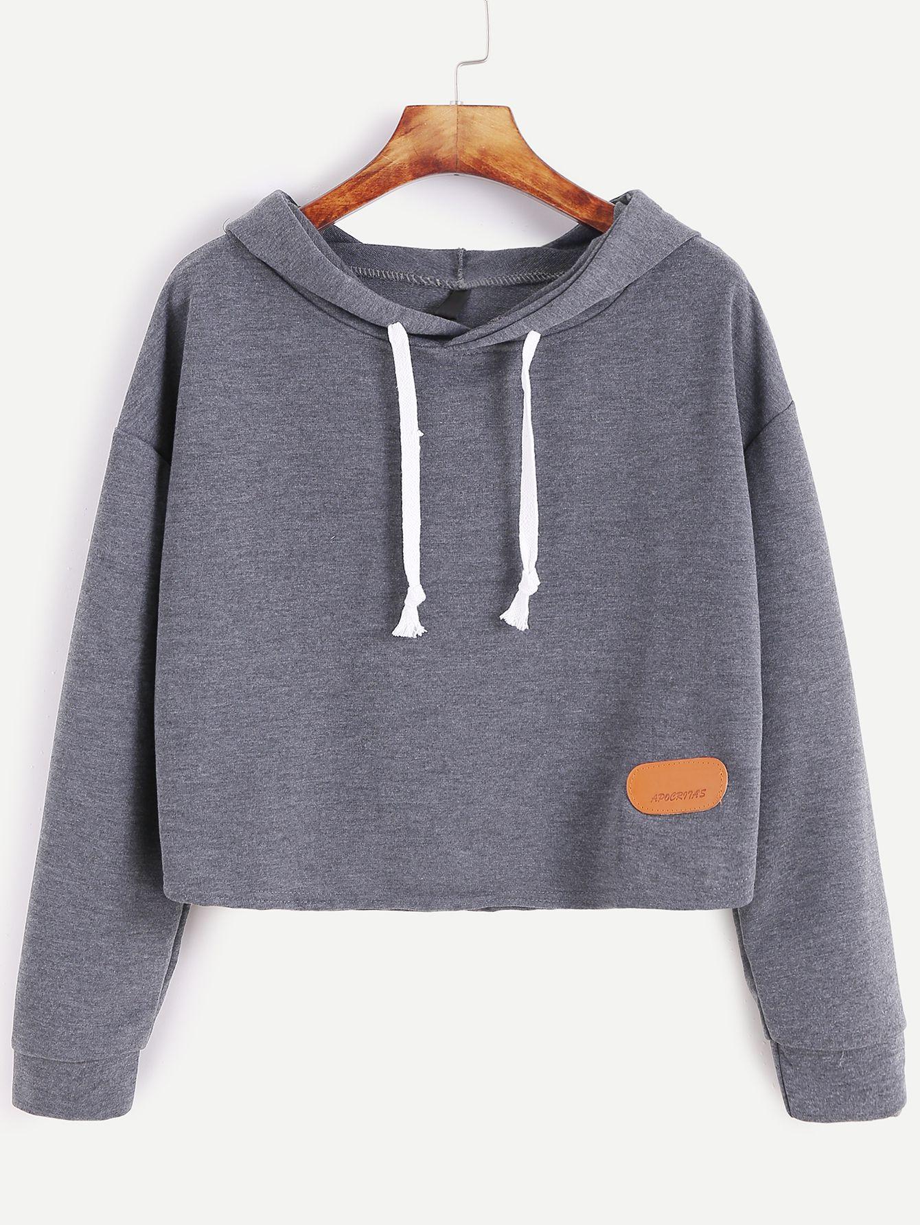 557de306052b Shop Dark Grey Hooded Drop Shoulder Patch Sweatshirt online. SheIn offers  Dark Grey Hooded Drop Shoulder Patch Sweatshirt   more to fit your  fashionable ...