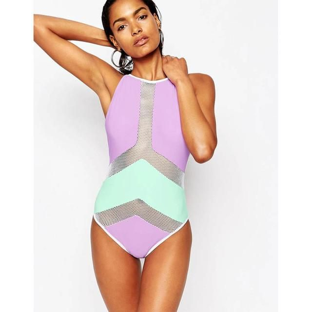 d52221ca57e25 Mesh Monokini White Black High Neck One Piece Swimsuit Female Swimwear 2017  Patchwork Trikini One-Piece Bathing Suit High Waist