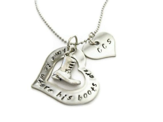 Necklace Quothome Is Where His Boots Arequot Heart Necklace