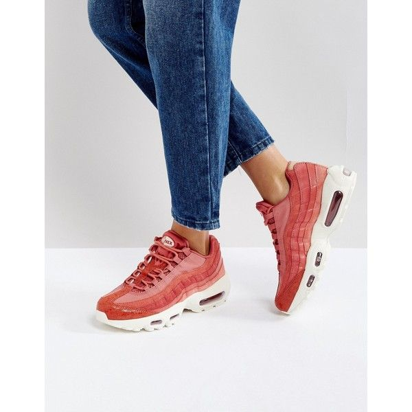 new product 34f22 22847 Nike Air Max 95 Premium Trainers In Pink (€135) ❤ liked on Polyvore  featuring shoes, sneakers, pink, lace up shoes, pink high top sneakers,  leather high ...