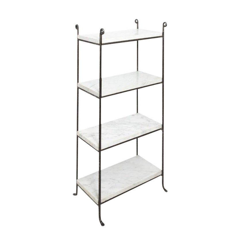 Pair Of Iron And Marble Shelves Marble Shelf Shelves Bookcase Shelves