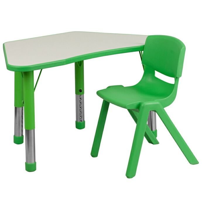 Green Trapezoid Plastic Activity Table Configuration with 1 School Stack Chair