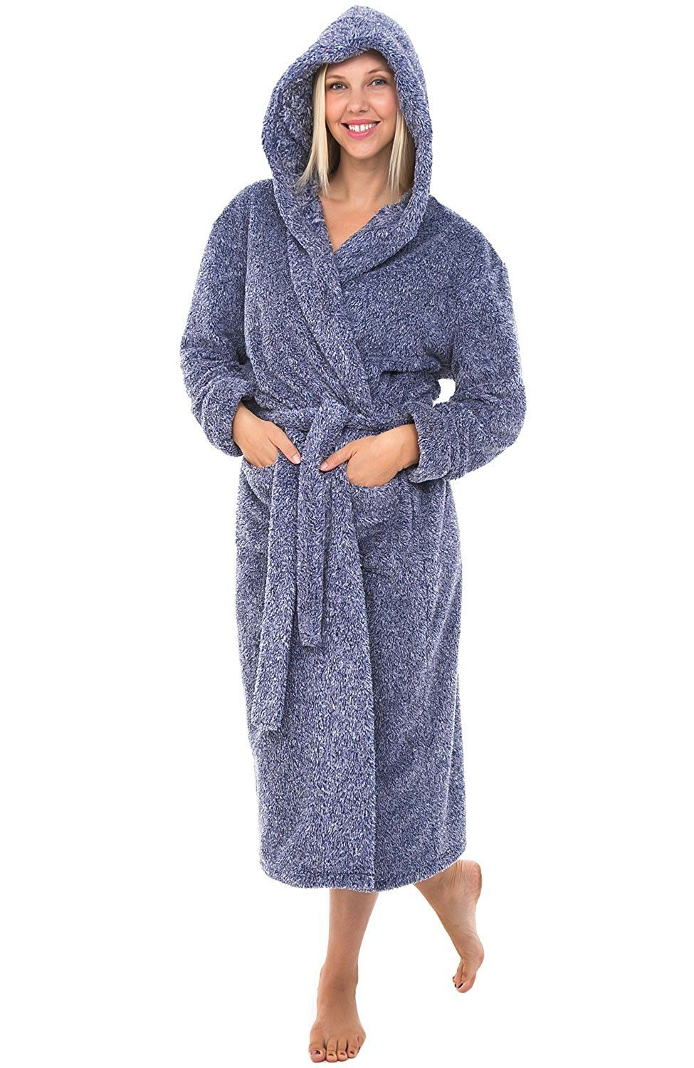 Alexander Del Rossa Womens Fleece Robe, Long Plush Hooded Bathrobe ...