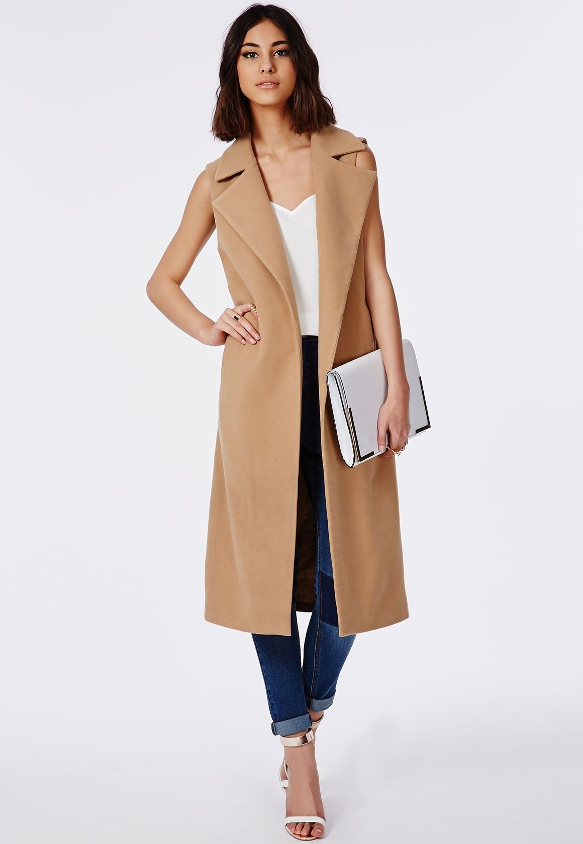 Sleeveless Tailored Coat Camel | Missguided, Camels and Coats
