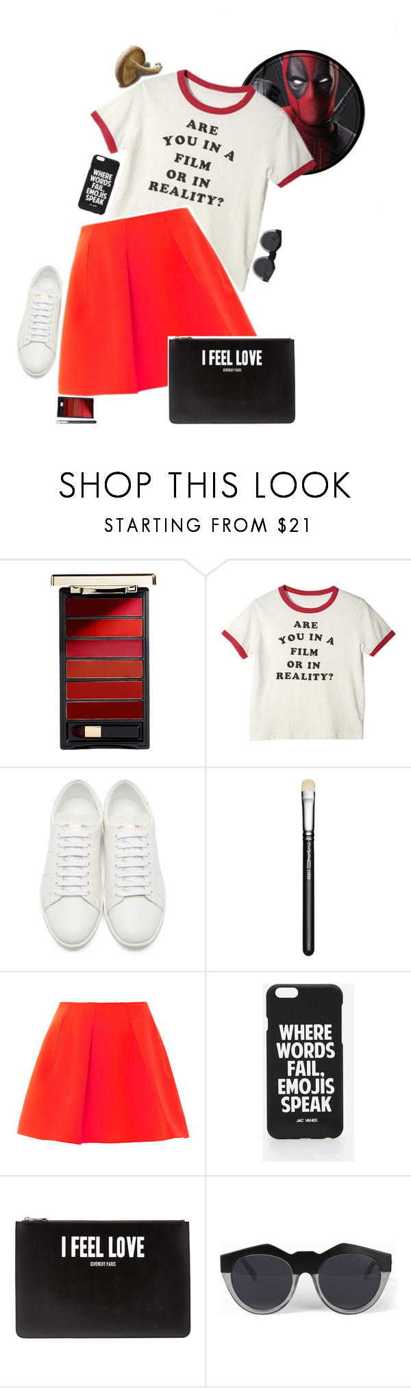 """""""{ Marvel summer style: Deadpool + the unpopular comic book opinion tag }"""" by kjvlulu ❤ liked on Polyvore featuring L'Oréal Paris, Yves Saint Laurent, MAC Cosmetics, Jac Vanek, Givenchy and Le Specs"""