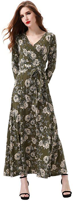 4cfc156795e Aphratti Women s 3 4 Sleeve Vintage Wrap Long Maxi Dress with Belt Small  Green at