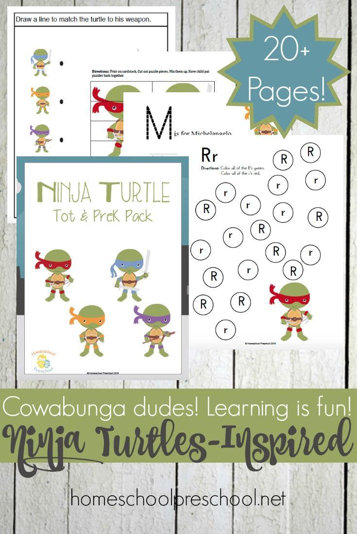 Free Ninja Turtle Printables For Preschool And Kindergarten Printable Activities For Kids Preschool Preschool Learning Activities [ 1100 x 735 Pixel ]