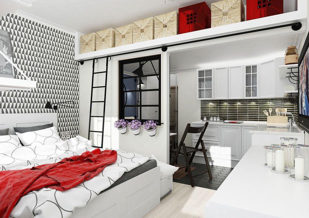 дизайн студий 30 кв м с балконом фото 5