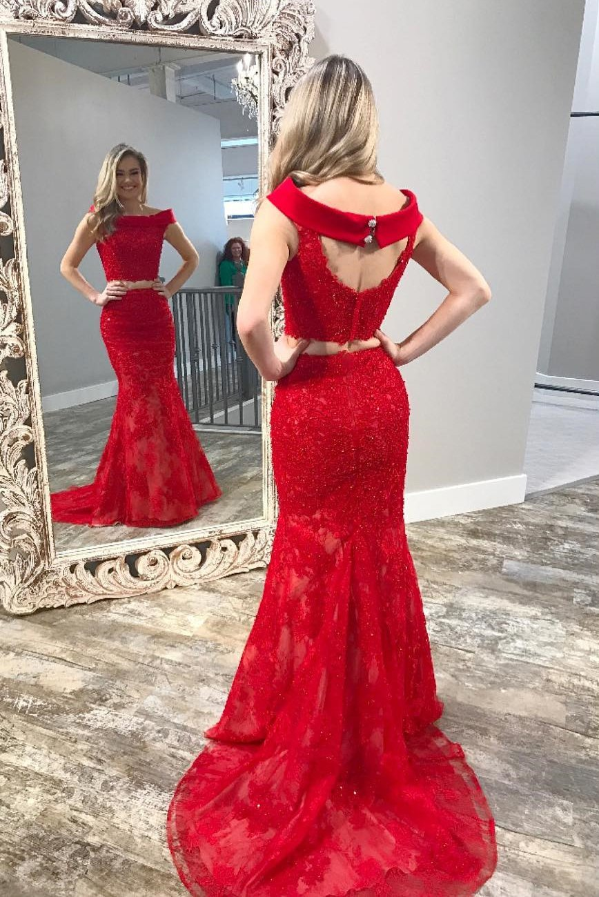 Sexy two piece mermaid red long party dress dresses