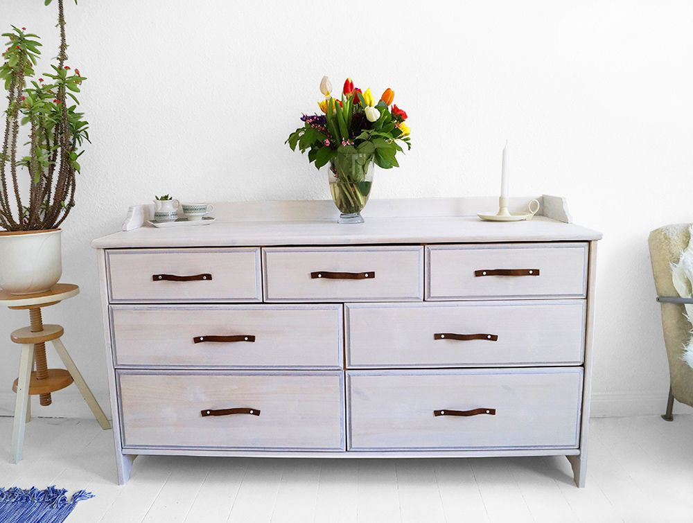 Credenza Ikea Leksvik : Leksvik drawer makeover with whitewash paint and leather ikea