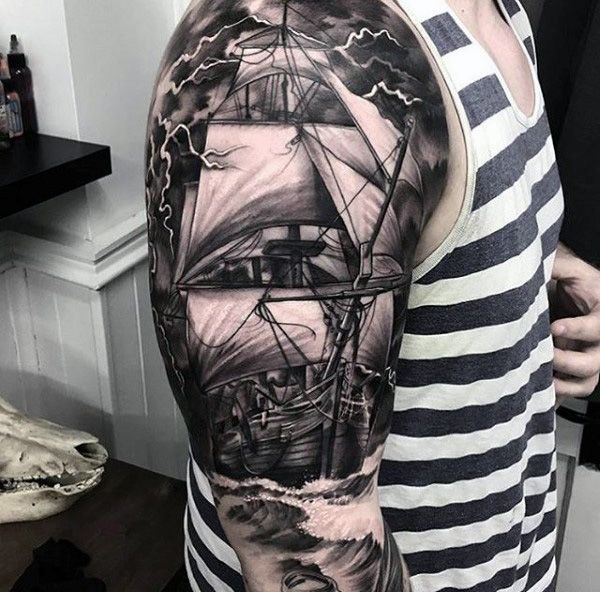 Color Tattoo By Matt From Black Sails Tattoo: Guys Full Sleeve Realistic Tattoo Of Ship With Majestic