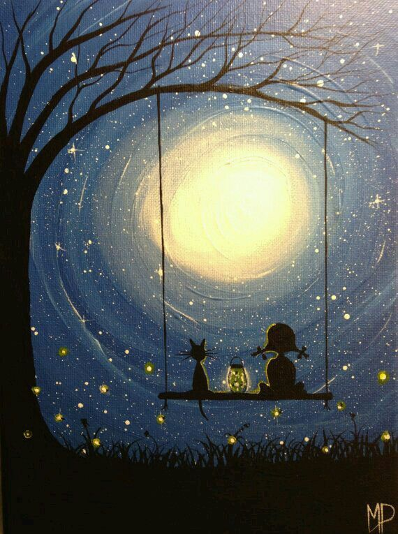 Stars Moons Swing Painting Art Painting Abstract