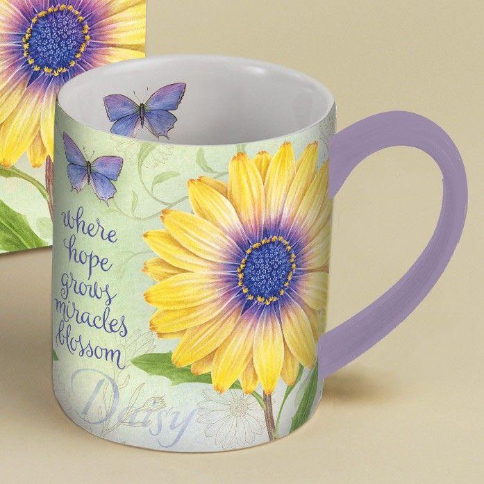 Botanical Inspiration Daisy Coffee Mug 14oz , 5021035 | Lang