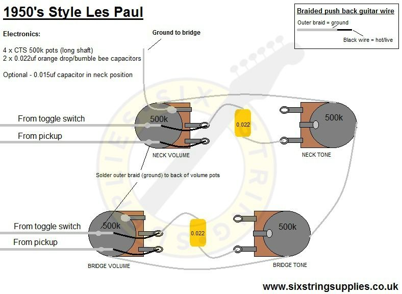 50's Les Paul Wiring | Custom electric guitars | Custom ...  S Style Les Paul Wiring Diagram on