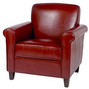 Red Leather Chair And Ottoman Sullivan Bonded