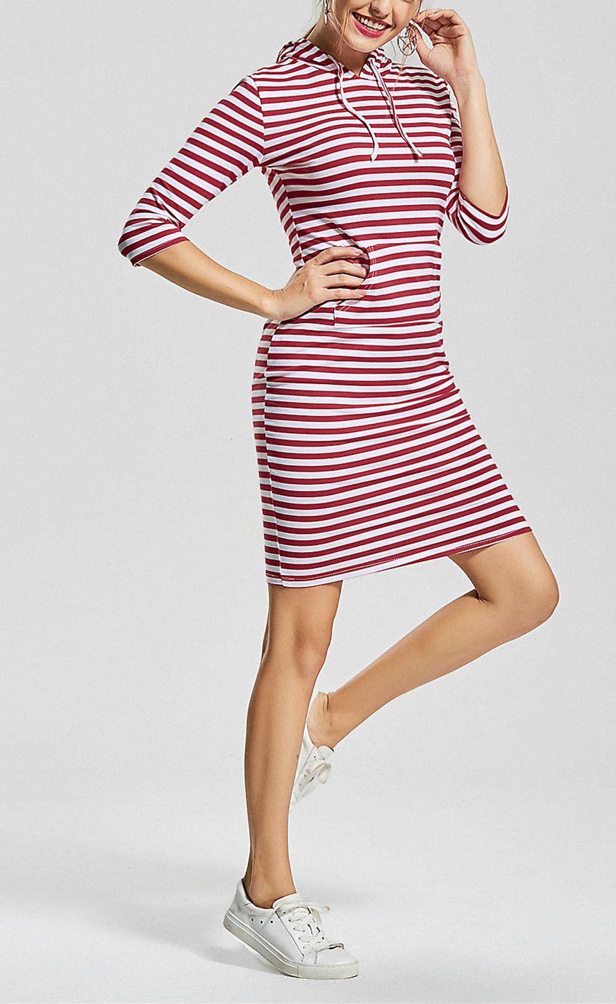 Kangaroo Pocket Striped Hoodie Dress | clothes | Pinterest ...