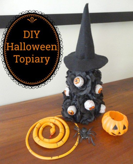 DIY Halloween Eyeball Topiary Craft project, dollar store, roses - halloween crafts decorations