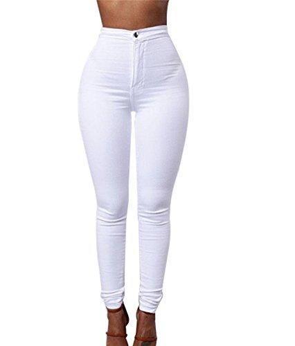 1feb96eaf8 Comprar Ofertas de ZKOO Cintura Alta Pantalones Jeans Mujer Elástico Flacos  Vaqueros Leggings Push up Mezclilla Pantalones Blanco barato. ¡Mira las  ofertas!
