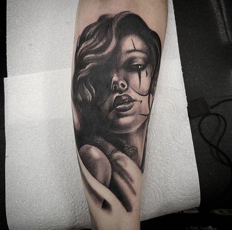 Girl Clown Face Tattoo, Half Sleeve In Progress