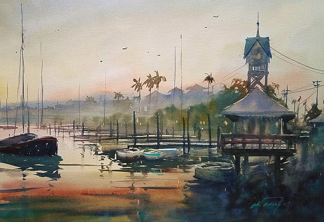 Winter Sunset At Bradenton Beach Florida Watercolor En Plein Air