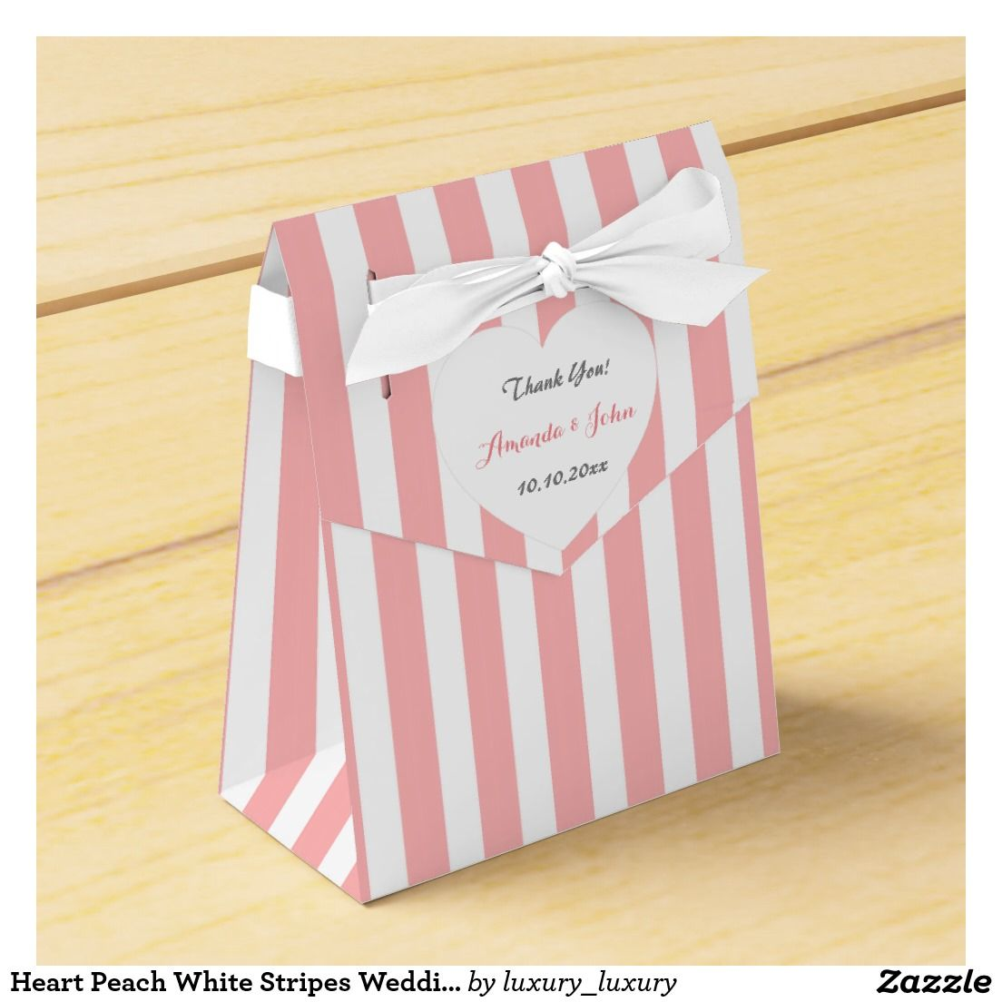 Heart Peach White Stripes Wedding Favor Thank You Wedding Favour Box ...