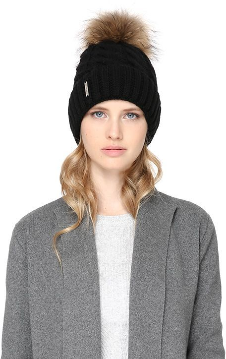 f5a66bbd605 Soia   Kyo AMALIE cable knit hat with removable pom pom