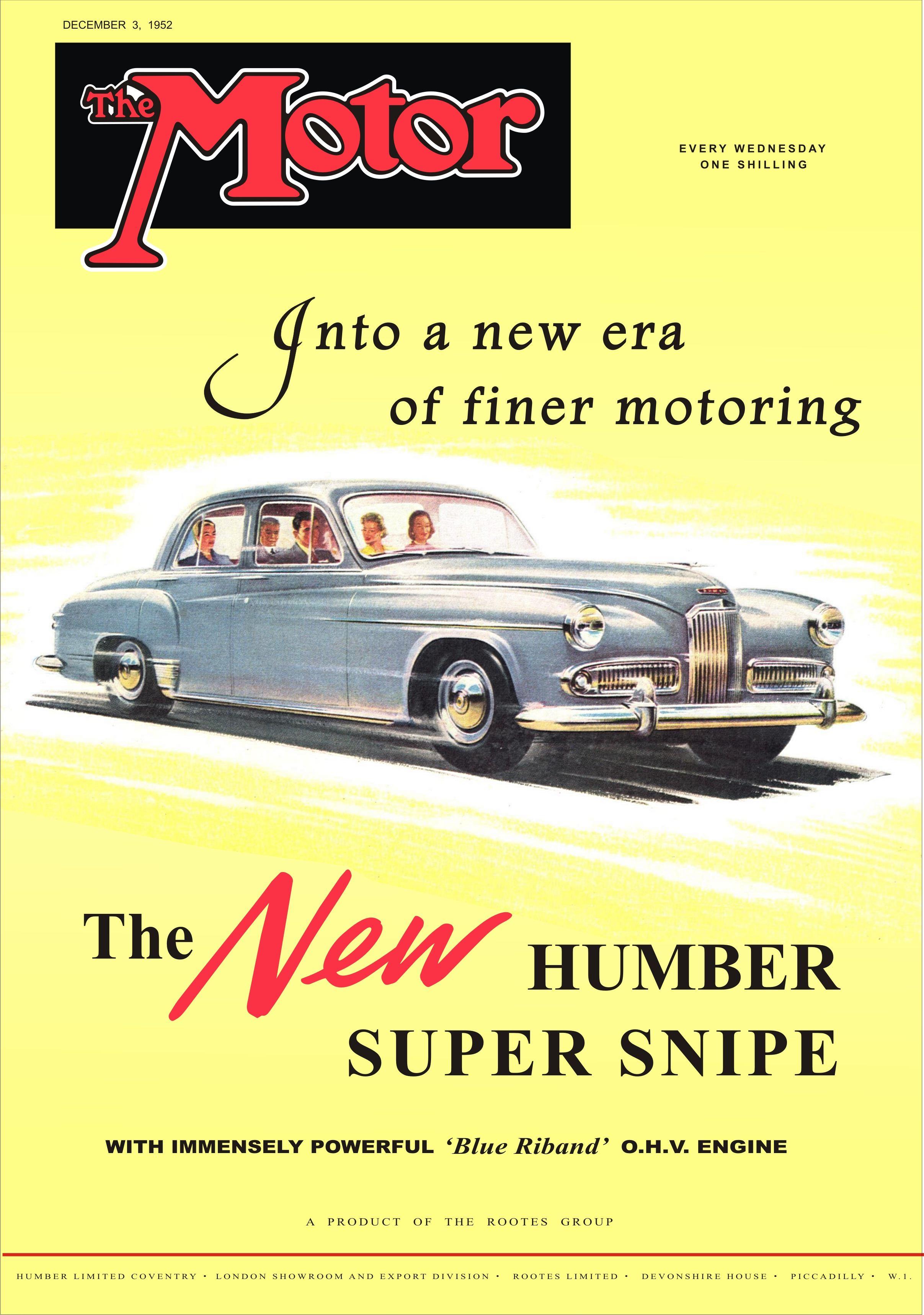 Motor Magazine Cover Humber Super Snipe December 3rd 1952 I Wanna