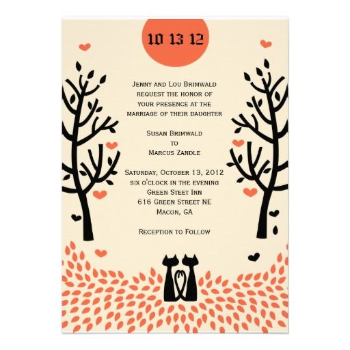Two Cats Fall Wedding Invitation