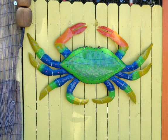 45in Green Metal Crab Wall Decor. Hand crafted from recycled metal ...