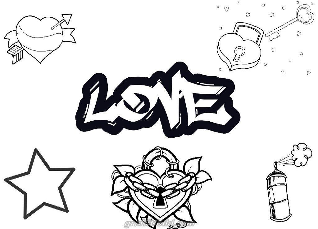 Graffiti Ausmalbilder Love Graffiti Ausmalbilder Kostenlose Erwachsenen Malvorlagen