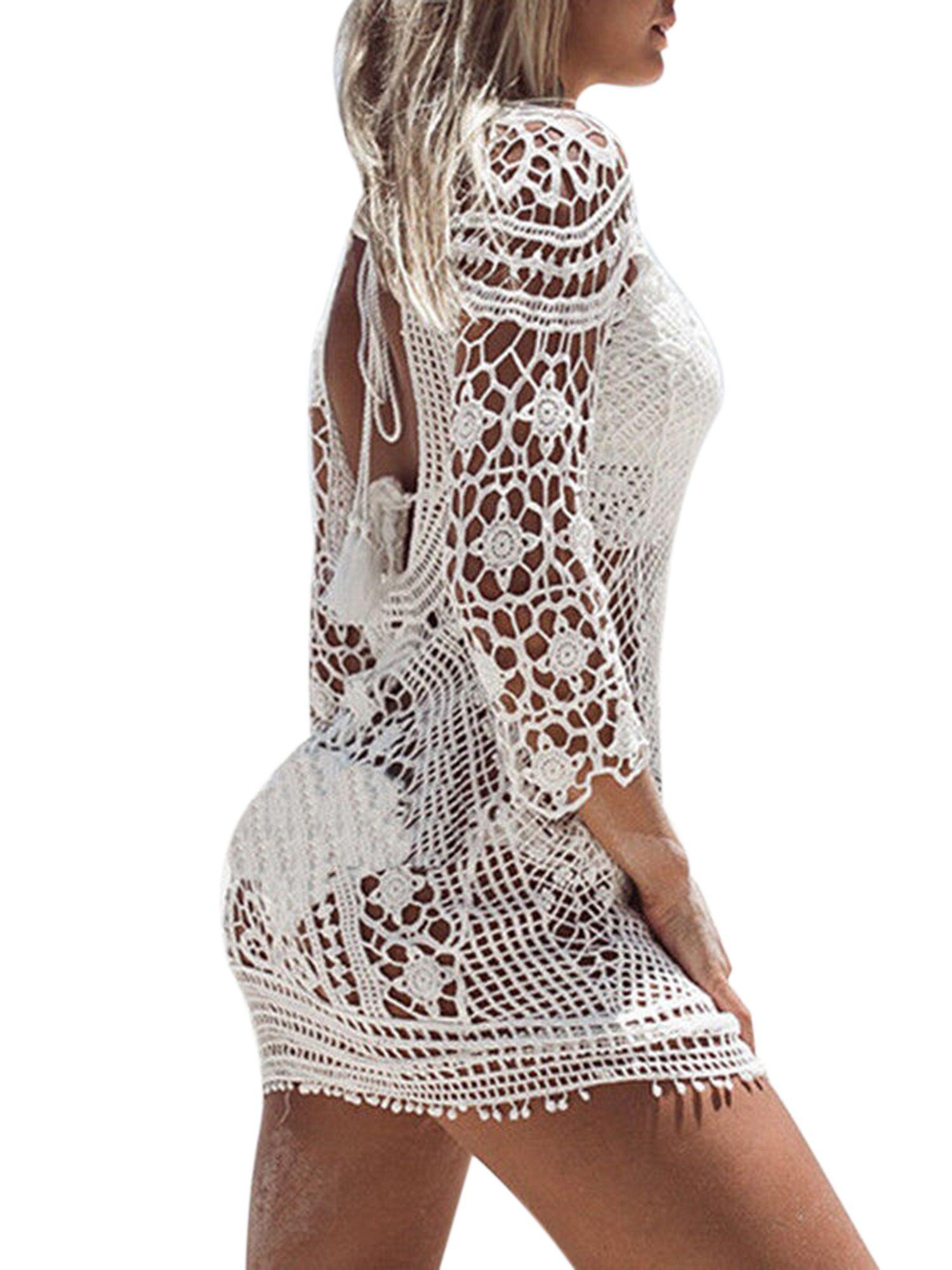 e87312801c Women Long Sleeve Lace Crochet Backless Beach Cover Up Dress Summer Holiday Bikini  Swimsuit Hollow Bathing Suit Swimwear#Backless, #Crochet, #Cover