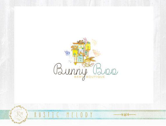 Baby Logo, Baby Boutique, Kids Logo, Childcare Logo, Toys Boutique Logo, Stamp logo, Watercolor Logo, Party logo