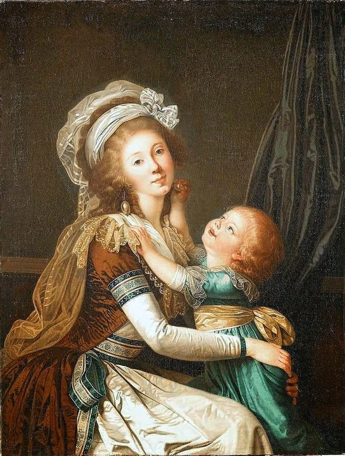 Portrait of a lady with her son, attributed to Adolf Ulrik Wertmüller; c. 1792